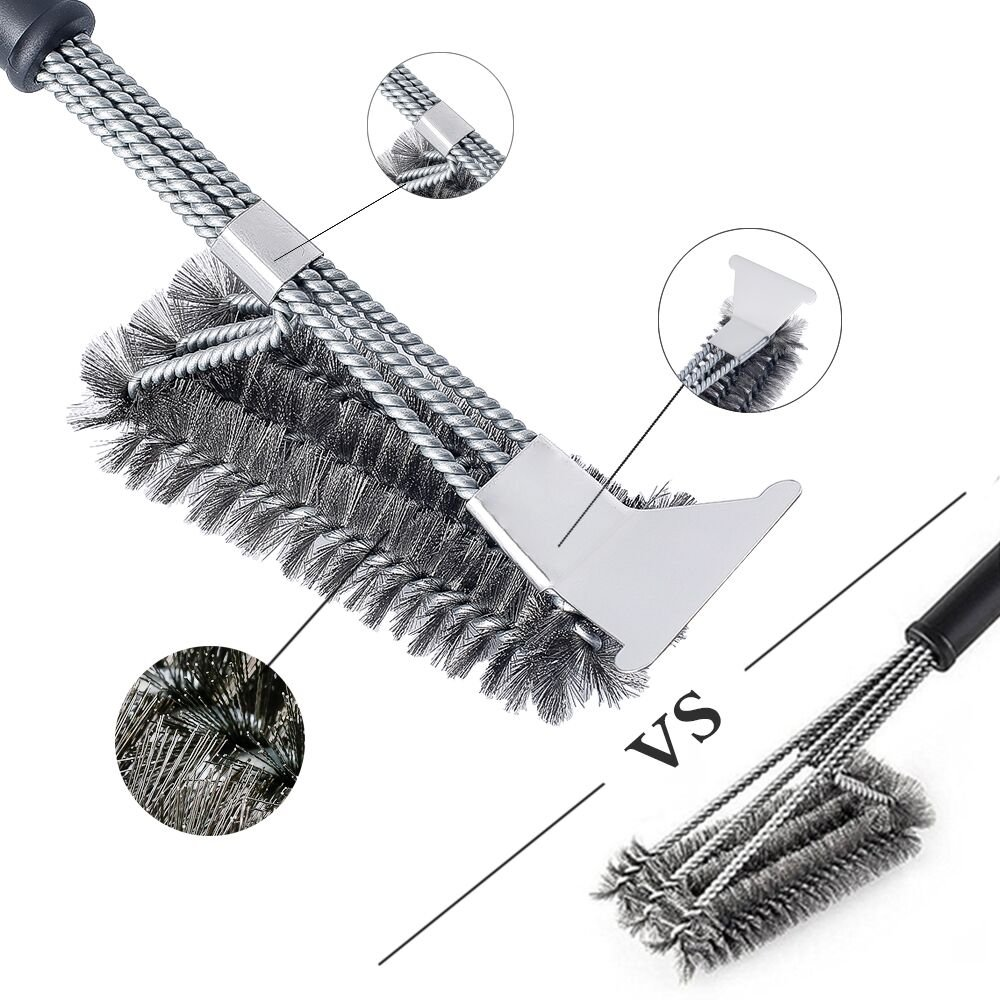 LISAQ Grill Brush Cleaning Scraper 3 In 1 Stainless Steel Rust Protection Bristle Free Grill Accessories BBQ Tools For Cooking Grate &Gas &Charcoal Grill,18 Inches