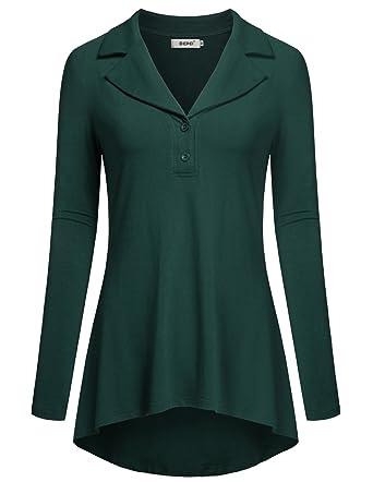 056eddb179a BEPEI Ladies Long Sleeves Blouses, Lapel Neck Tops Flattering Tunics Green M