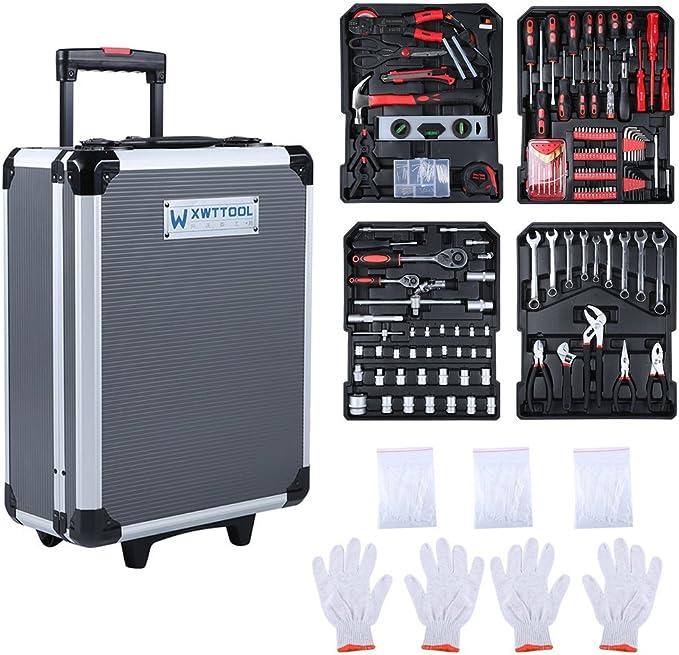 Maletín de herramientas de aluminio grande relleno, juego con 999 herramientas equipadas, caja de herramientas universal, carro de herramientas: Amazon.es: Bricolaje y herramientas