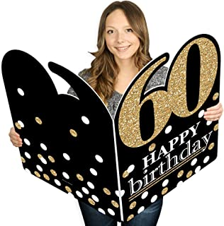 product image for Big Dot of Happiness Adult 60th Birthday - Gold - Happy Birthday Giant Greeting Card - Big Shaped Jumborific Card - 16.5 x 22 inches