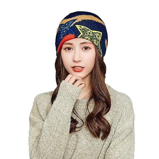 Amazon.com  Clearance Sale ! Kshion Women s Autumn And Winter Letters Print  Baggy Muslim Hat Plain Wool Warm Fashion Collar Caps (Navy)  Clothing e6d045d5f6ec