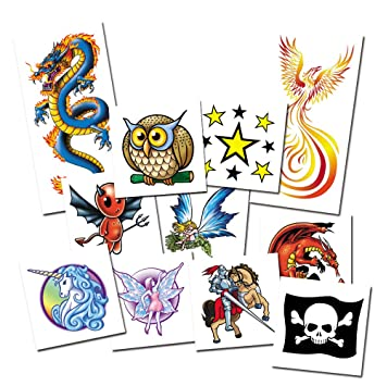 64400ea45 Fantasy Tattoos Pack - x11 Temporary Tattoos for Kids - Sticker Tattoos  dermatologically tested