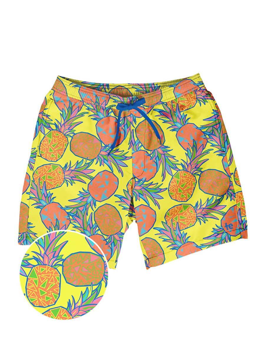 Tipsy Elves Men's Short Swim Trunks - Bright Neon Board Shorts for Vacation (Pina Colada, X-Large)