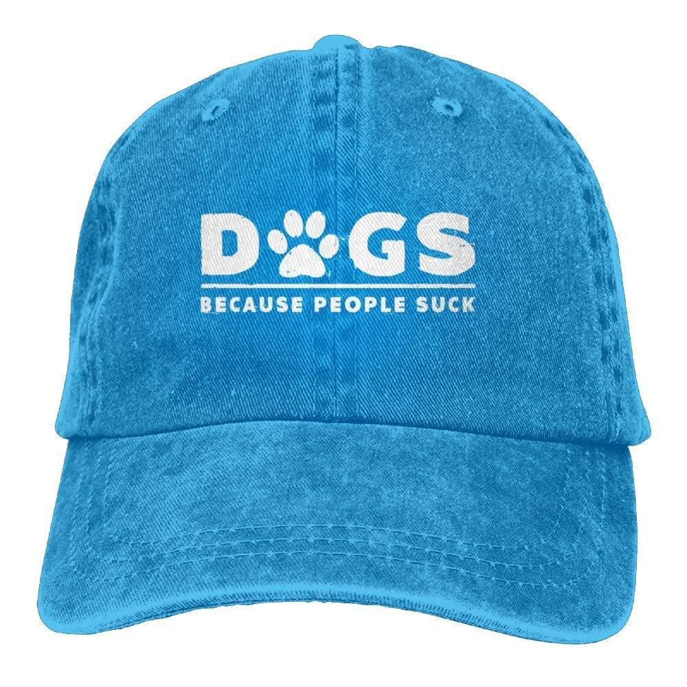 JTRVW Cowboy Hats Dogs Because People Suck Denim Hat Adjustable Unisex Cute Baseball Hats