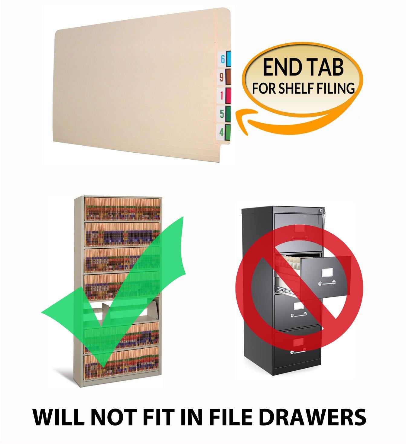 Full Diagonal Pocket Letter Size Full Cut End Tab 11 pt Manila Folders Fasteners Pos #1 /& #3 Box of 50