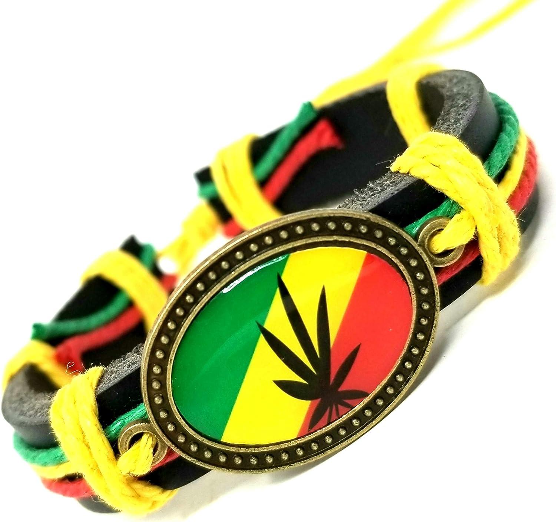 Rasta Leather Bracelet - Handmade Rastafari Bracelet - Marijuana Pot Leaf Bracelet Leaf Bracelet