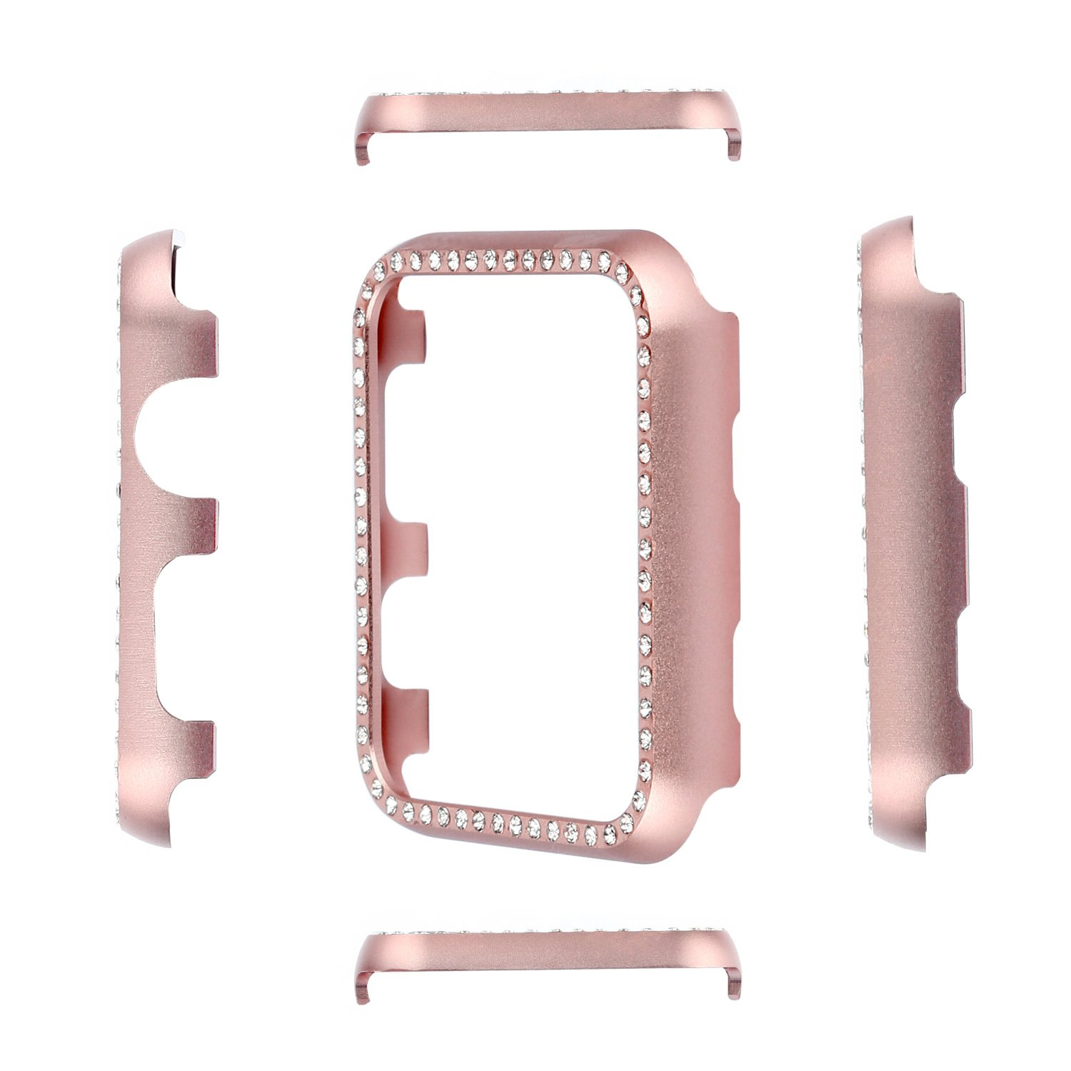 Apple Watch Bumper 42mm, iWatch Crystal Rhinestone Diamond Aluminum Case Shell Protective Frame Cover for 42mm Apple Watch Series 3/2/1 - Rose Gold by Clatune (Image #3)