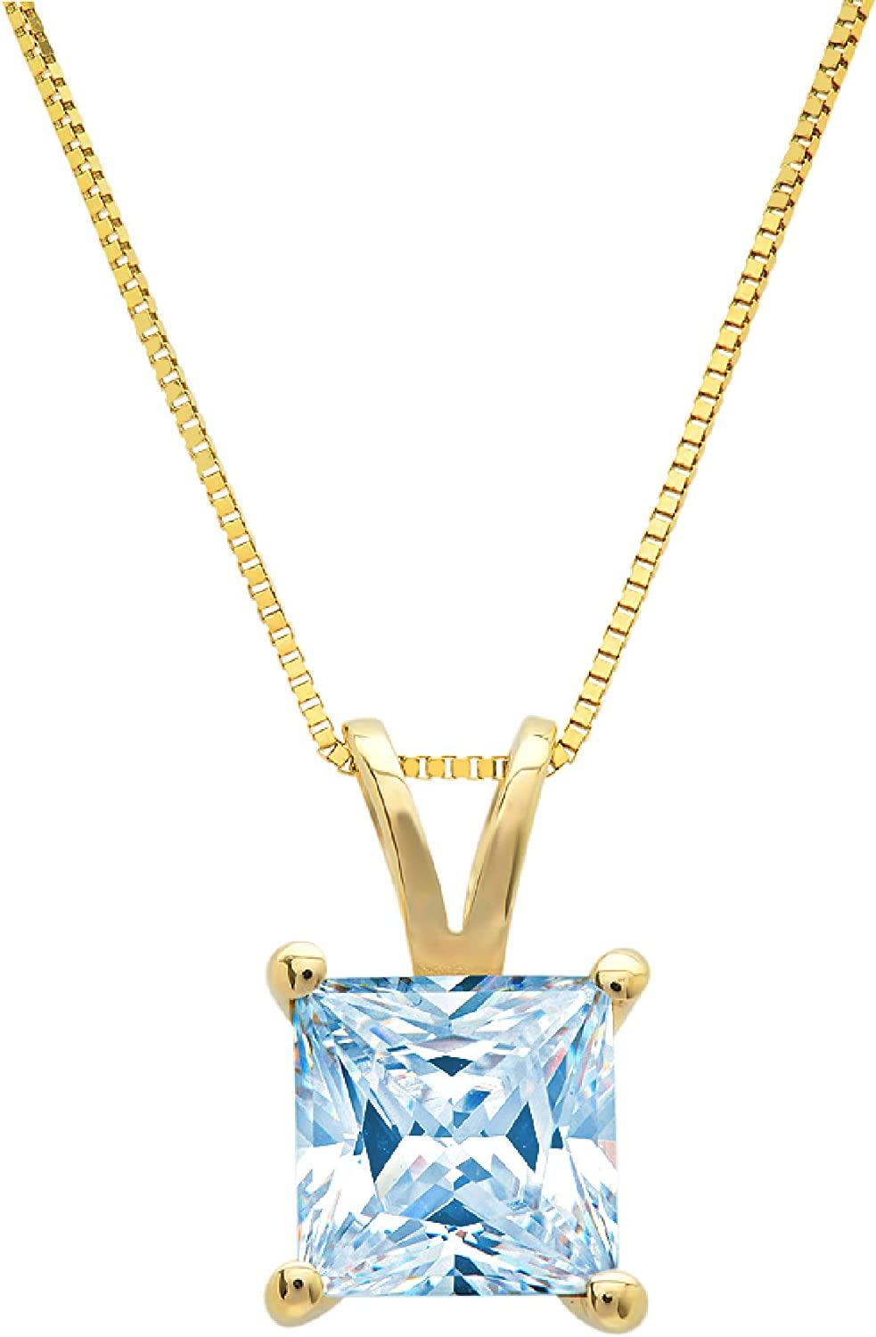 0.50 ct Brilliant Princess Cut Solitaire Designer Genuine Flawless Simulated Blue Sapphire 14K 18K White Gold Pendant with 16 Chain