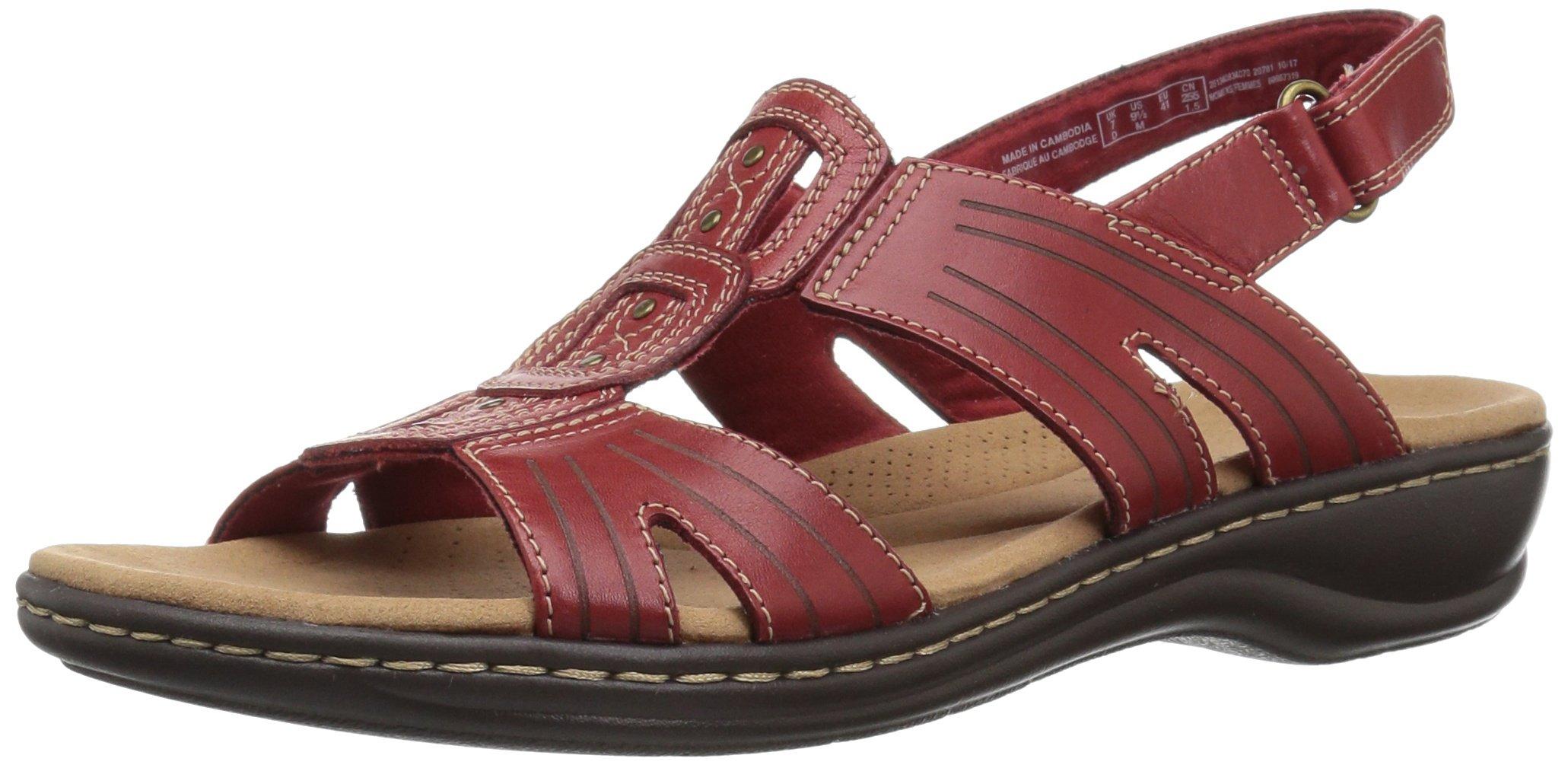 CLARKS Women's Leisa Vine Platform red Leather 8.5 Medium US