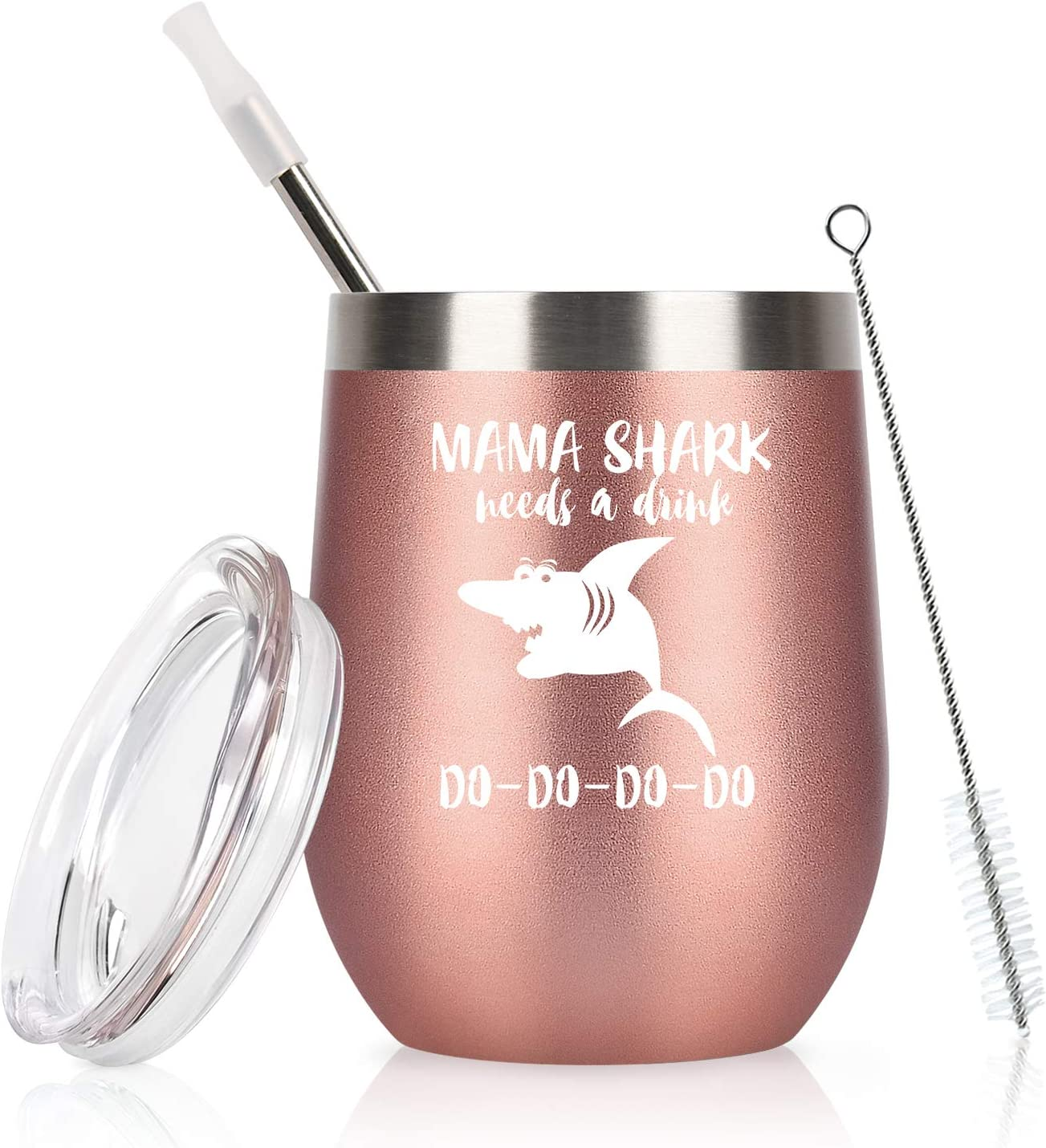 Mama Shark Needs a Drink Mom Wine Tumbler with Lid and Straw Mothers Day Birthday Gifts for Mom New Mom Her Funny Insulated Stainless Steel Wine Tumbler Mommy Shark Wine Tumbler (12 Oz, Rose Gold)