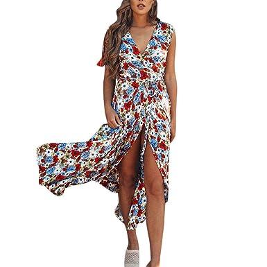 4efc14dfa2dc Yusealia Women Maxi Tank Dresses Clearance Sale Floral Printed V-Neck  Sleeveless Off Shoulder Split
