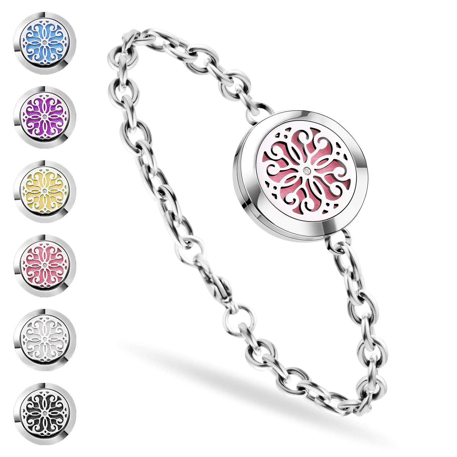 Aromatherapy Bracelet, Shovan Essential Oil Diffuser Bracelet Stainless Steel Aromatherapy Locket Bracelets for Women with 6 Color Pads,Girls Women Jewelry Set