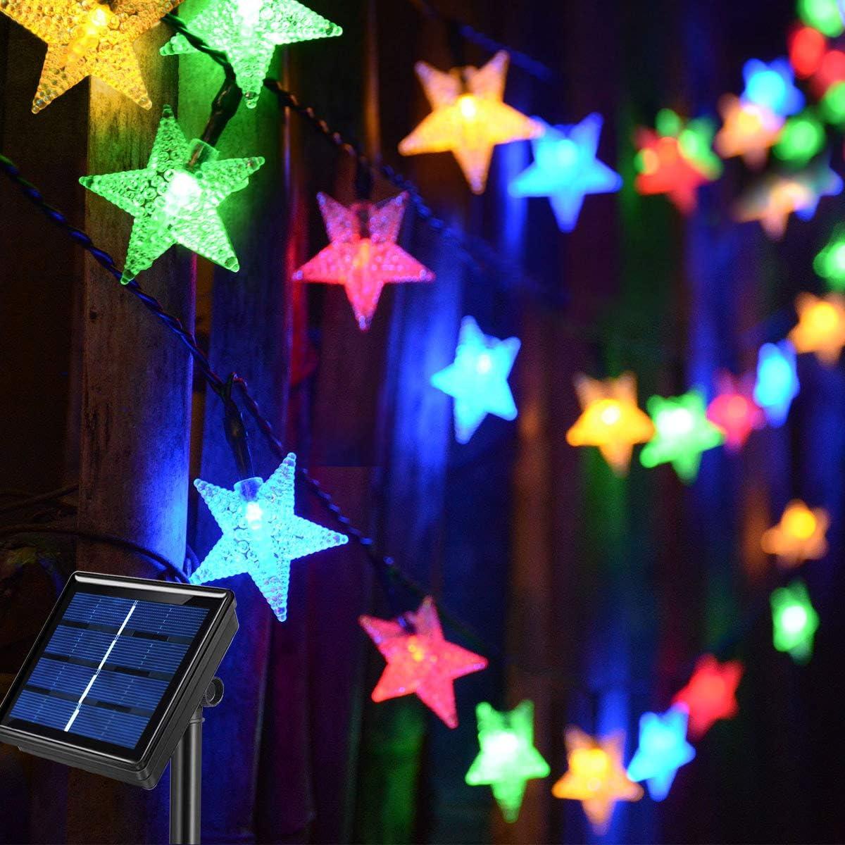 Abkshine 50ft 120LED Solar String Fairy Lights Outdoor,Waterproof Star Twinkle Decorative Lights for Garden,Patio Post,Deck,Canopy,Gazebo,Porch,Pergola,Balcony,Backyard Fence,Party Decor,Multicolored