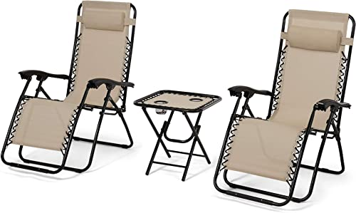 3 Pieces Adjustable Zero Gravity Chair, Patio Chaise Lounge Chairs with Folding Table, Outdoor Yard Pool Recliner – Beige