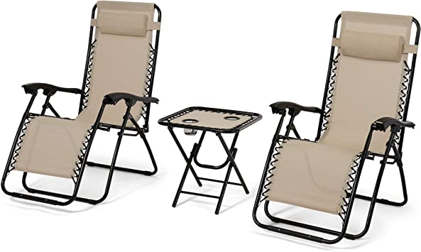 Bonnlo 3 PCS Zero Gravity Chair Patio Chaise Lounge Chairs Outdoor Yard Pool Recliner Folding Lounge Table Chair Set Brown