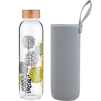 FCSDETAIL Botella de Agua de Cristal sin BPA, Botella de Agua de Vidrio de Borosilicato con Funda de Neopreno y Tapa de Bambú 420ml / 660ml / 1000ml