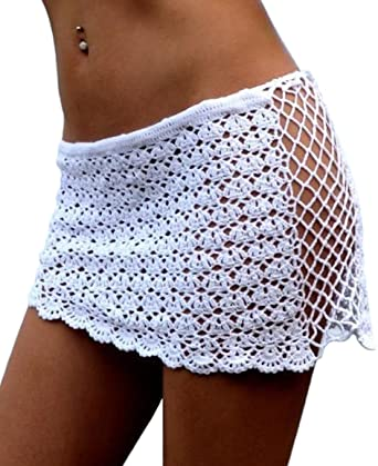 DELEY Mujeres Crochet Malla Hueco Mini Falda Corta Trajes De Baño ...