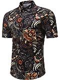 MYMSTORM Men's Flower Short Casual Aloha Beach Tropical Button Down Short Sleeve Hawaiian Shirt