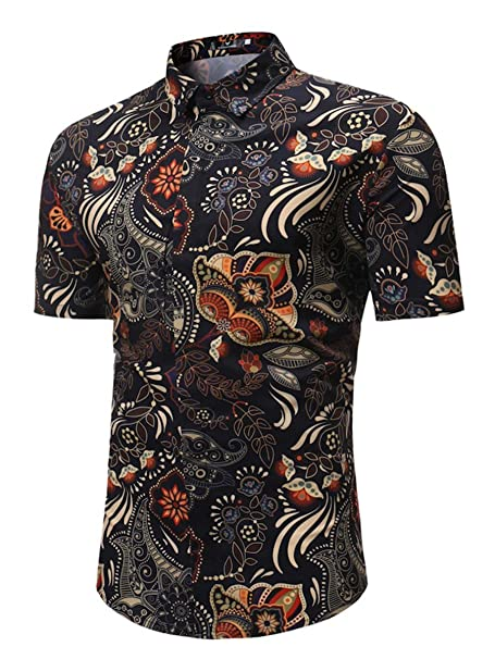 6eb489f62 MYMSTORM Men's Flower Hawaiian Casual Button Down Short Sleeve Shirt  (Small, Black)