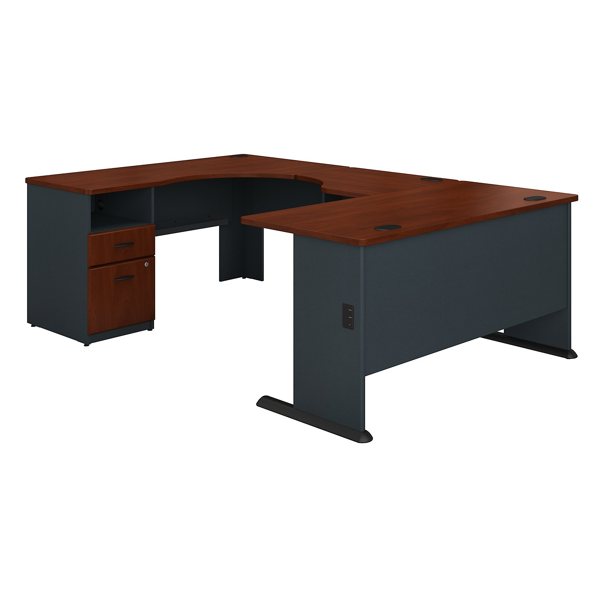 Bush Business Furniture Series A 60W x 93D U Shaped Desk with 2 Drawer Pedestal in Hansen Cherry and Galaxy
