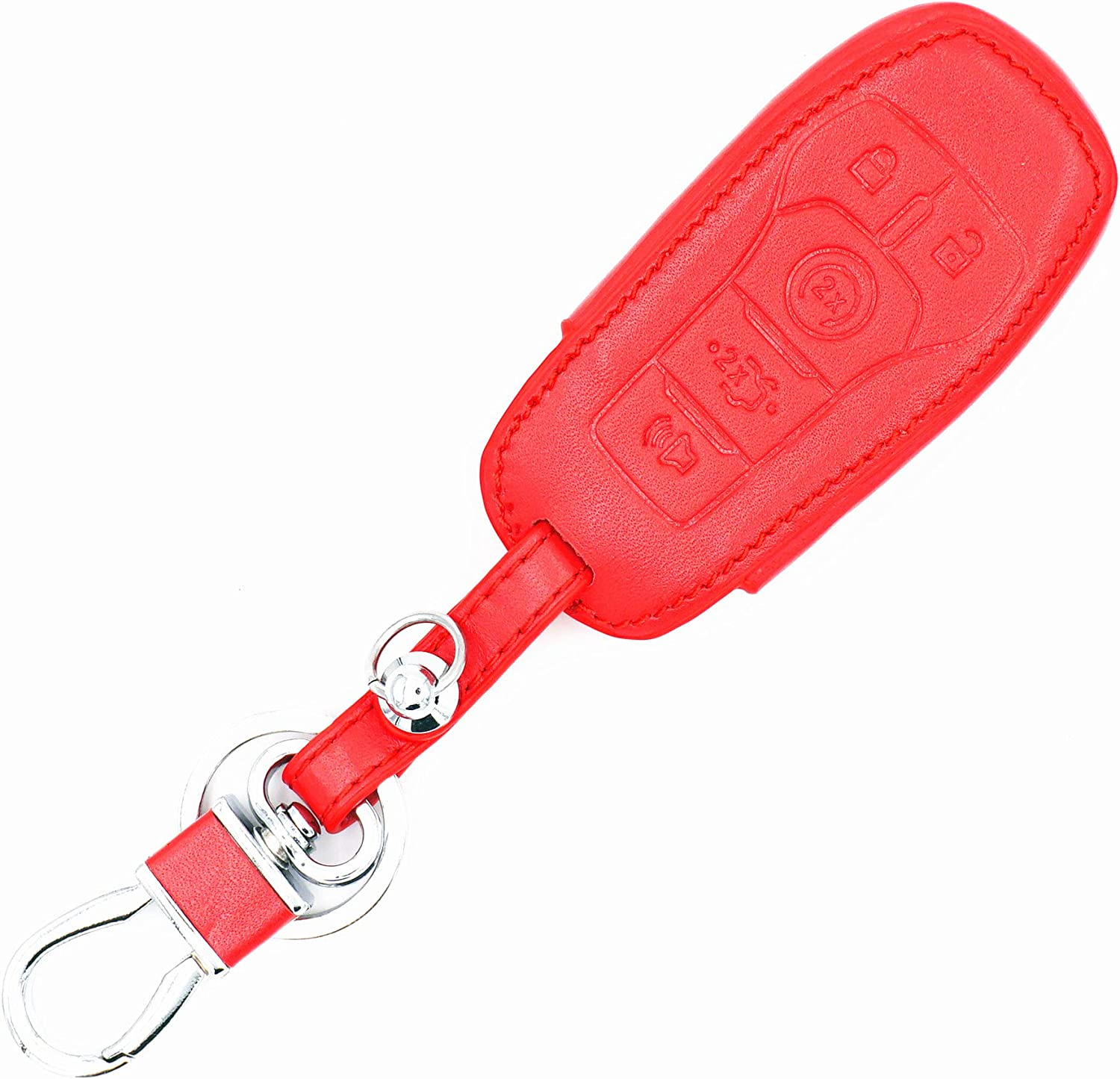 WFMJ Red Leather for Ford Fusion Mustang F-150 Fusion F-450 F-550 Super Duty Edge Explorer Lincoln MKZ MKC 5 Buttons Remote Smart Key Chain Cover Case Fob