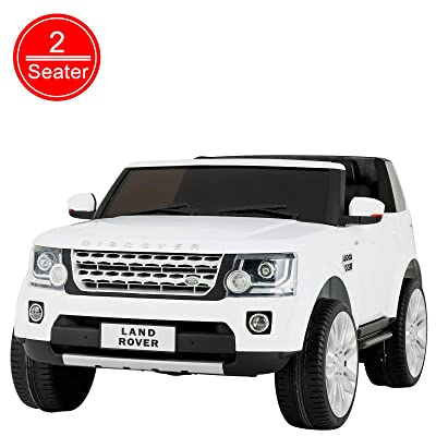 Uenjoy 2 Seater 12V Kids Ride On Car Licensed Land Rover Discovery Electric Cars for Kids with RC Remote Control, LED Lights, Storage Room, Music, White: Toys & Games