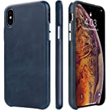 iPhone X/XS Case, TOOVREN Handmade Premium Genuine Leather Protective Ultra Thin Phone Cover with Supporting Wireless Charging for 5.8 inch Apple iPhone Xs 2018 X/10 2017 Blue