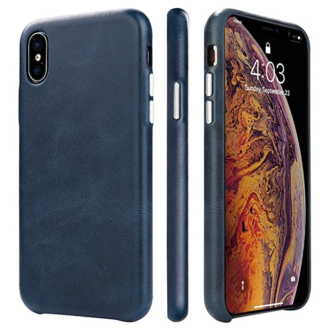 new arrival 94987 b43b2 TOOVREN iPhone X Leather Case iPhone X/XS Genuine Leather Cover Case  Protective Ultra Thin Vintage Anti-Slip Grip Shell Hard Back Cover for  Apple ...