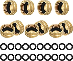 10 Pieces 3/4 Inch Brass Hose Cap Hose End Cap Spigot Cap Garden Hose Female End Cap with 20 Pieces 3/4 Inch Washers for Home Garden Hose