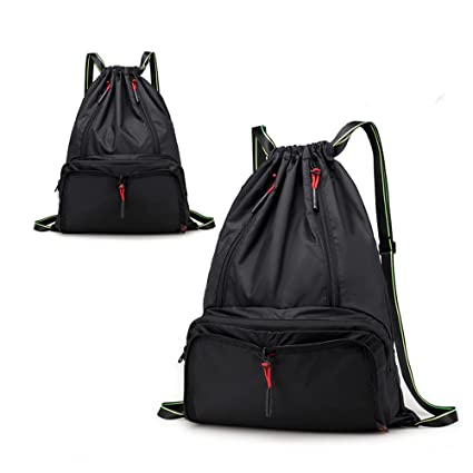 414acbf3a6d5 Drawstring Backpack Cinch Sack Foldable Sackpack Lightweight Gym Sack for  Summer Swimming Travel Beach Dancing Gym