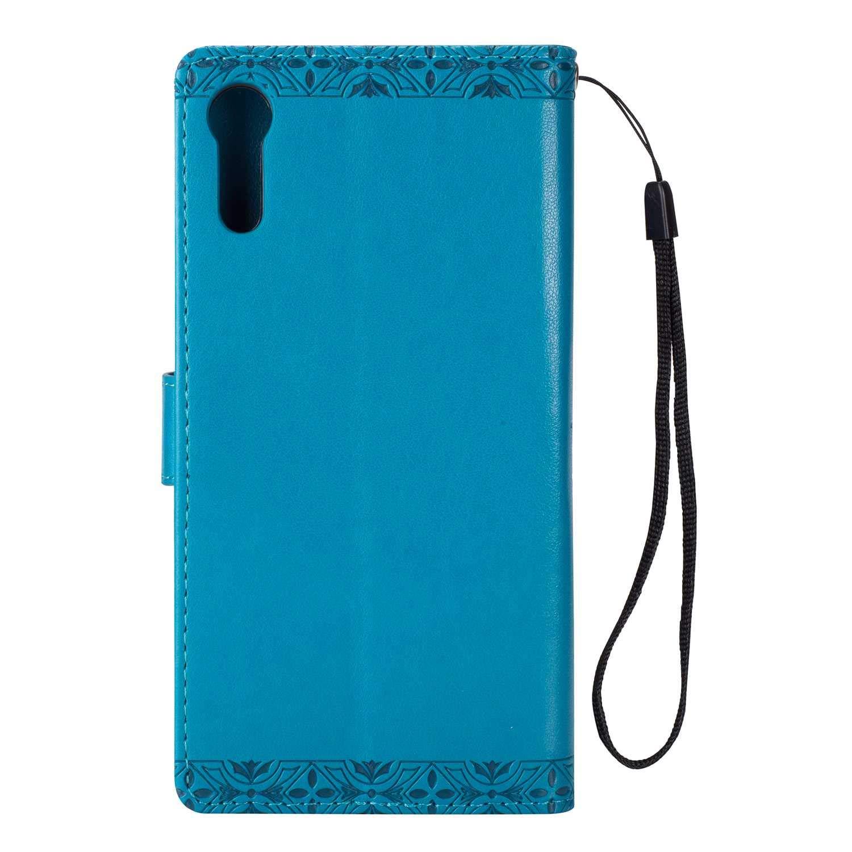 Stand Funktion Kredit Karten Magnet Schutzh/ülle f/ür Sony Xperia XZS Blau Sony Xperia XZS H/ülle DENDICO Leder Case Flip Brieftasche Tasche