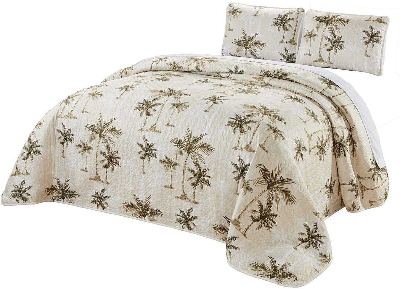 TOMMY BAHAMA Bonny Cove Coral Pink Green Tropical Floral Palms  TWIN Quilt Set