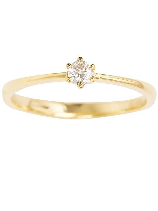 MyGold – Anillo de compromiso de mujer, en oro amarillo o blanco 585 (14 quilates), con circonita tallada en brillante, anillo de boda o pedida, ...