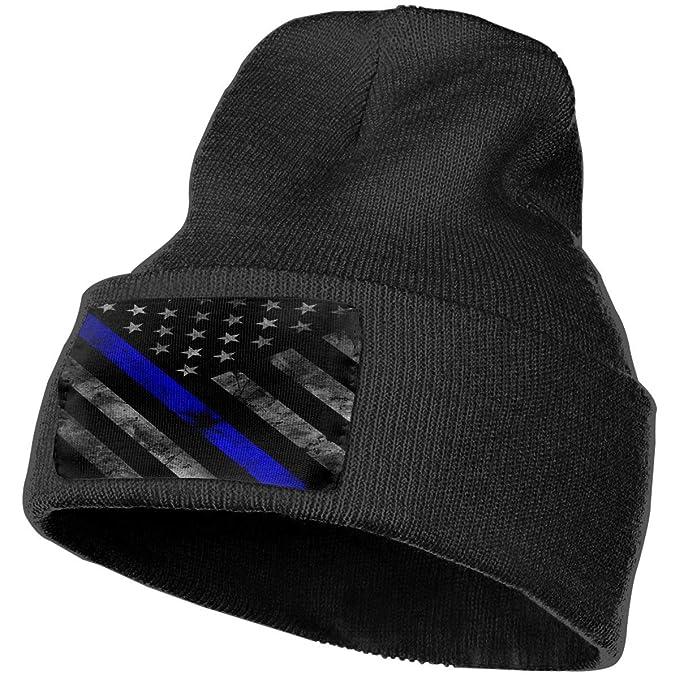 5d05c50d1 Amazon.com: SISA Thin Blue Line Police Flag Unisex Adult Beanie Hats ...