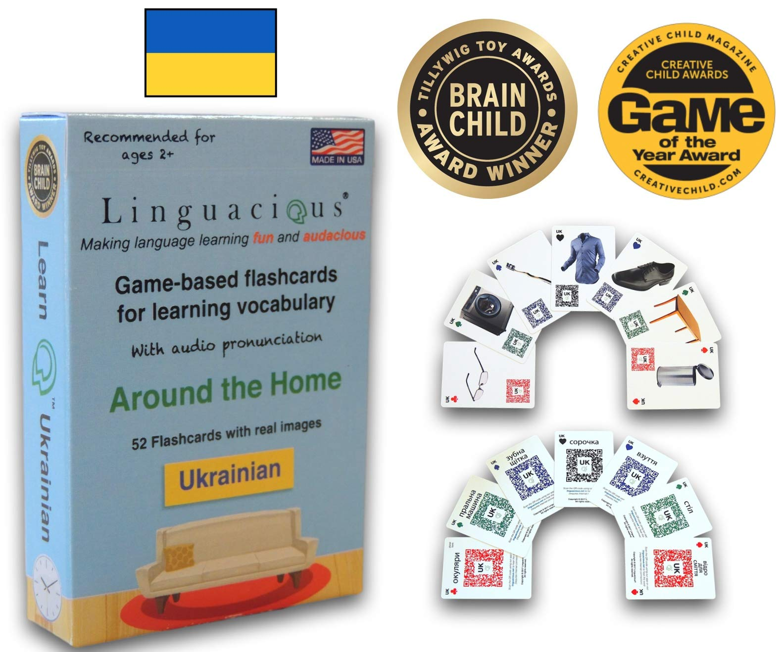 Linguacious Award-Winning Around The Home Ukrainian Flashcard Game - with Audio! by Linguacious