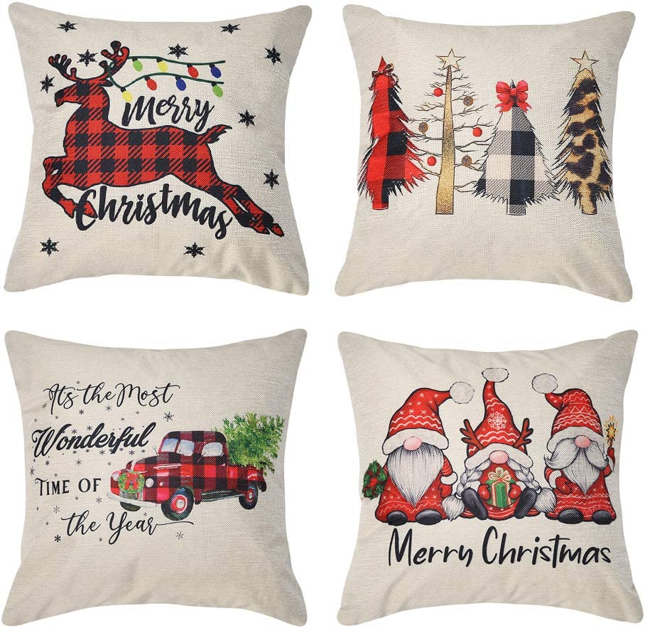 Kiuree Christmas Pillow Covers 18x18 Farmhouse Buffalo Plaid Christmas Decorations Throw Pillows Cases Set of 4 Winter Holiday Black Red Truck Xmas Tree Seasonal Home Outdoor Decor Cushion Covers