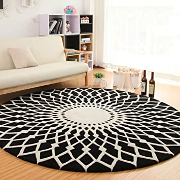 Lym Tapis De Salon Tapis Rond Noir Et Blanc Tapis Salon Table