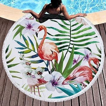 Redondo Toalla de playa tropical Flores Hojas Flamingo microfibra toalla de playa playa manta Toalla Mantel de picnic pared colgantes esterillas para yoga ...