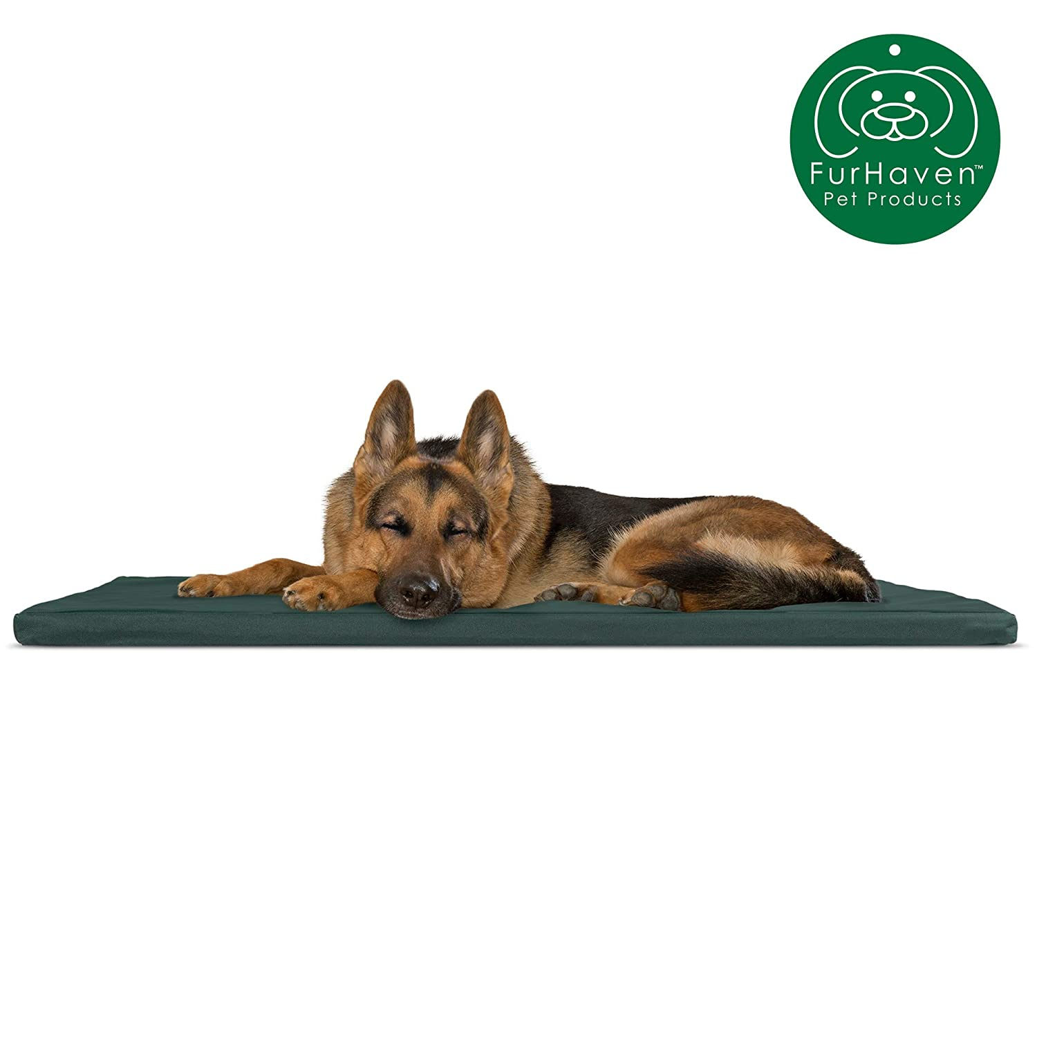 Furhaven Pet Dog Bed Kennel Pad | Reversible Two-Tone Water-Resistant Crate or Kennel Foam Mat Pet Bed for Dogs & Cats - Available in Multiple Colors & Styles
