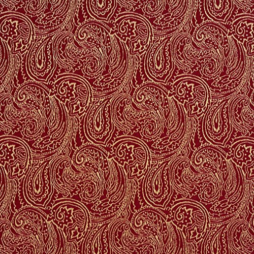 B634 Red Traditional Paisley Jacquard Woven Upholstery Fabric by The Yard ()