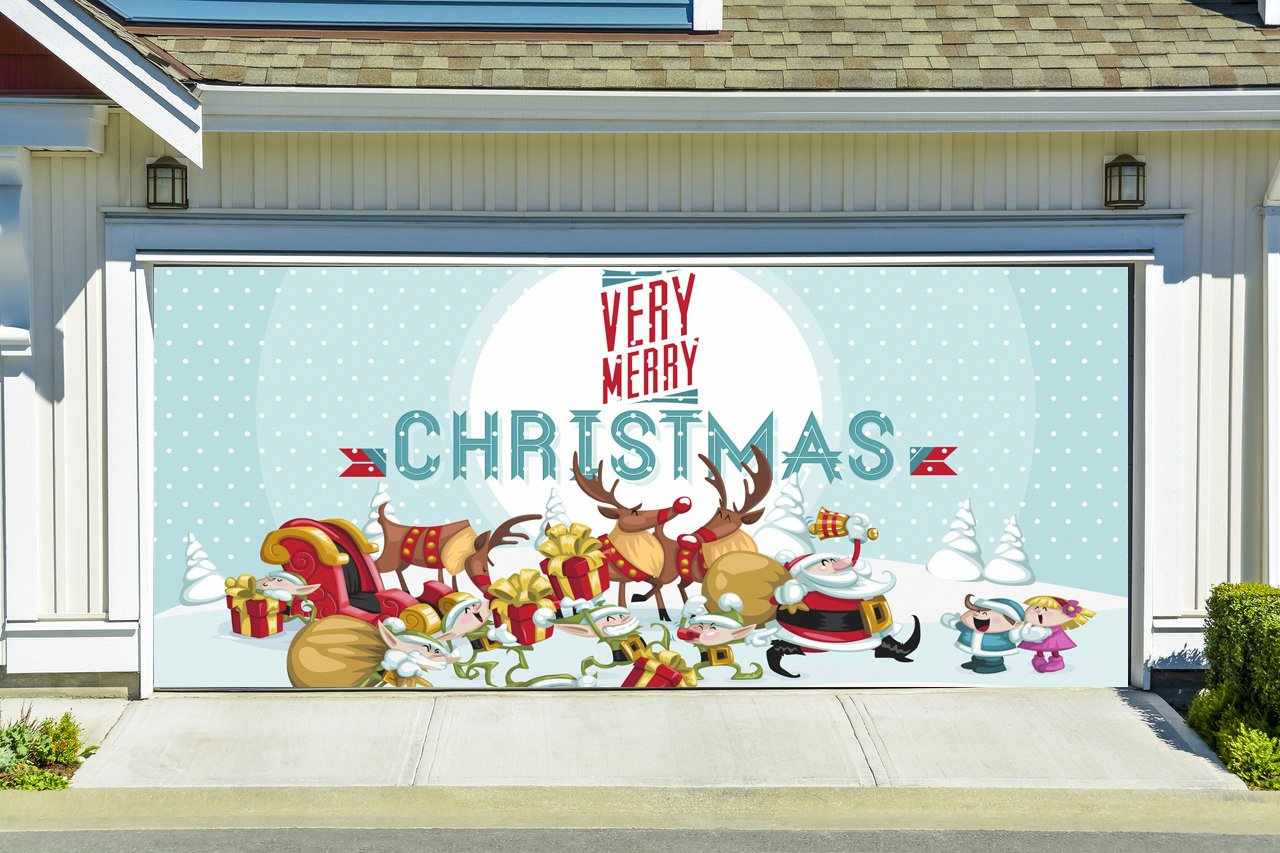 Christmas Garage Door Cover Merry Christmas Banners 3d Holiday Outside Decorations Outdoor Decor for Garage Door G82
