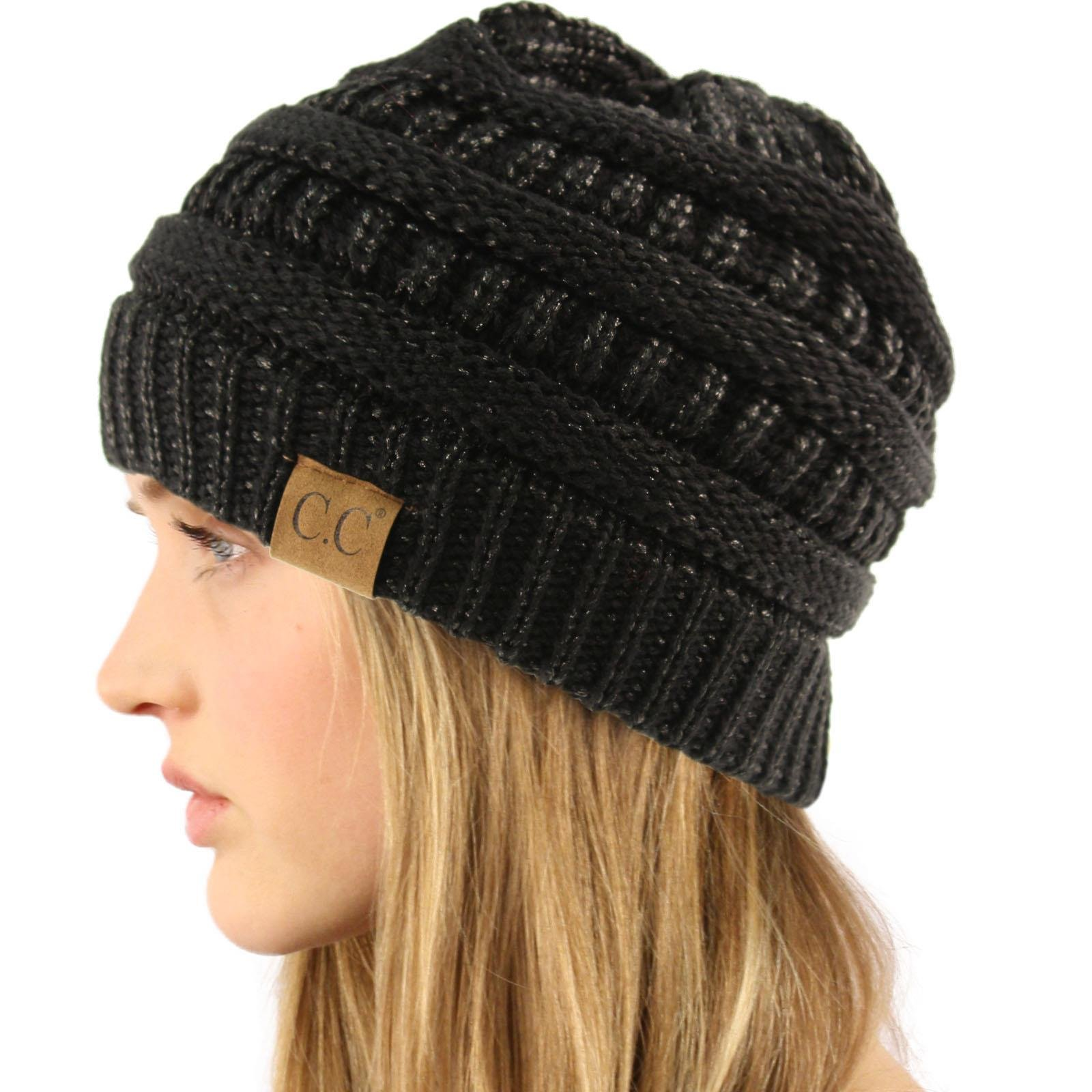 CC Winter Trendy Soft Cable Knit Stretchy Warm Ribbed Beanie Skully Ski Hat Cap Metallic Black/Black