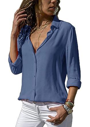 453ecc5d3d0432 ZC&GF Damen Bluse Chiffon Elegant Langarm Oberteile Einfarbig V-Ausschnitt  Hemdbluse Asymmetrisch T-Shirt
