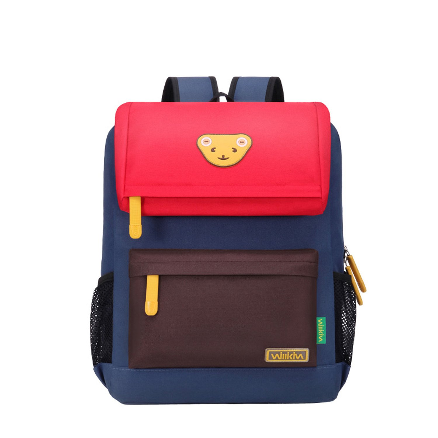 Willikiva Cute Bear Kids School Backpack for Children Elementary School Bags Girls Boys Bookbags (Red/Coffee/Royalblue, Small)