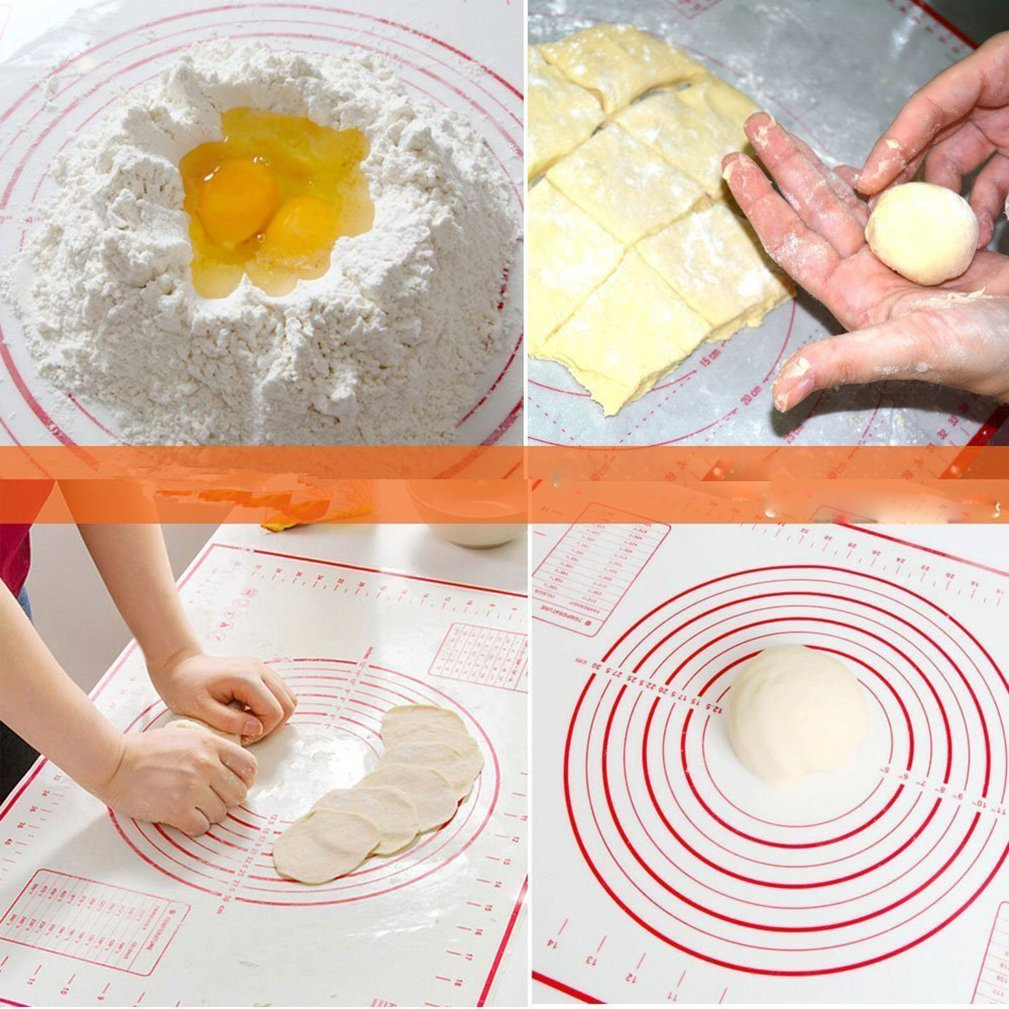 "ZCHING Silicone Pastry Mat with Measurement Not-Slip Rolling Dough Mats for Baking 24"" x 16"" (red) by ZCHING (Image #7)"