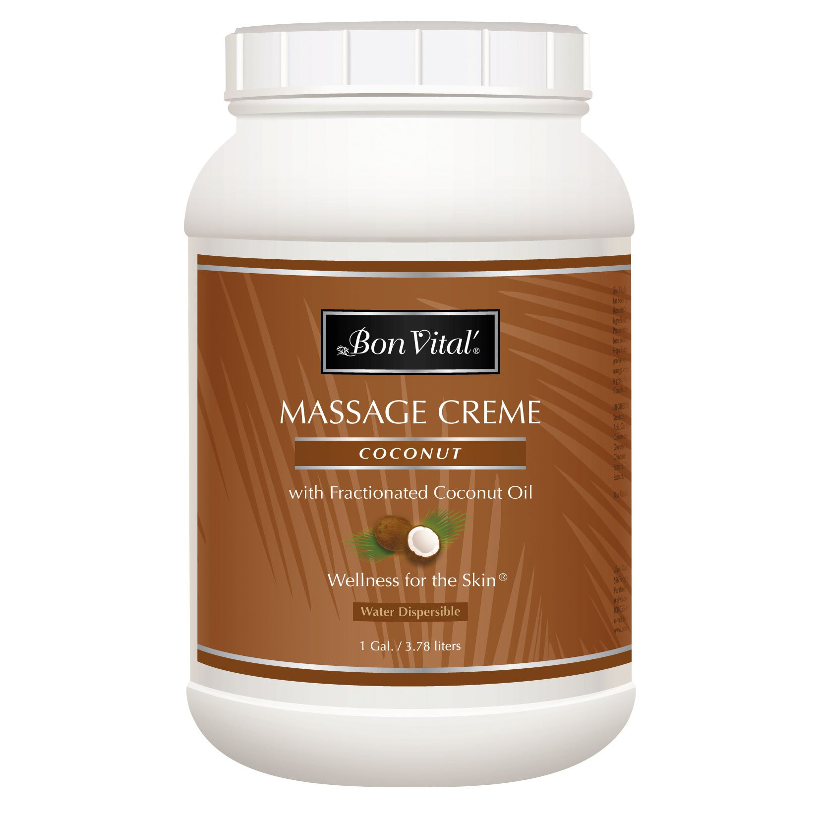 Bon Vital' Coconut Massage Crème Made with 100% Pure Fractionated Coconut Oil, Massage Cream & Moisturizer to Repair Dry Skin, No Greasy Feel, Anti-Aging Cream for Professional Massage, 1 Gallon Jar