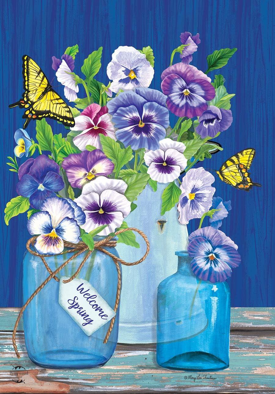 """Briarwood Lane Butterflies and Pansies Spring Garden Flag Mason Jars 12.5"""" x 18"""""""