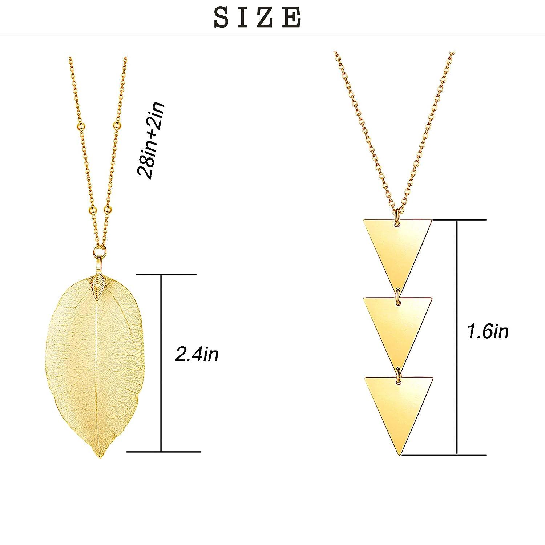LOYALLOOK 12PCS Long Pendant Necklace Set Leaf Bar Y Necklace Strands Necklaces for Women