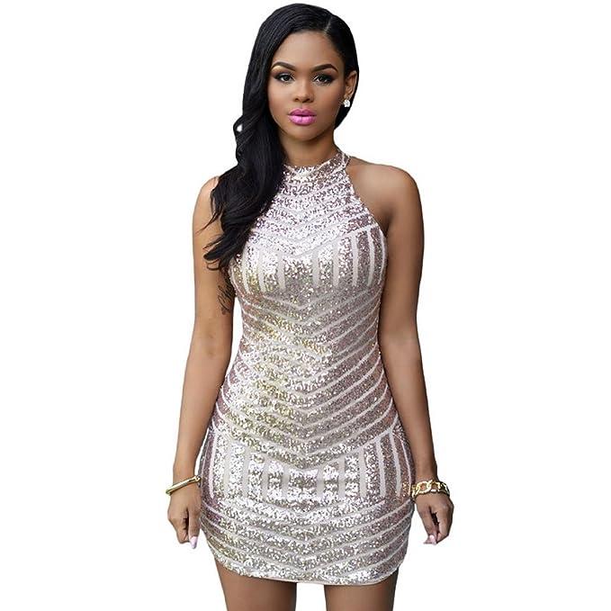 a94b02637258c Mela Proibita Vestito donna smanicato oro paillettes elegante capodanno  cerimonia abito sexy - Oro