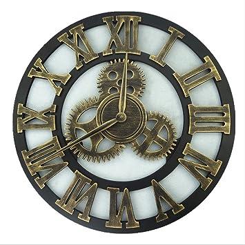 H&M Reloj de pared estilo retro retro engranaje de metal pared reloj de pared reloj de